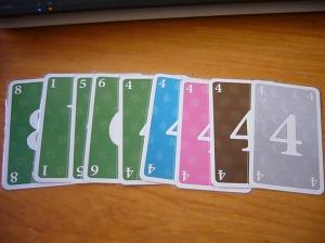 5 Cartas verdes y 5 cuatros